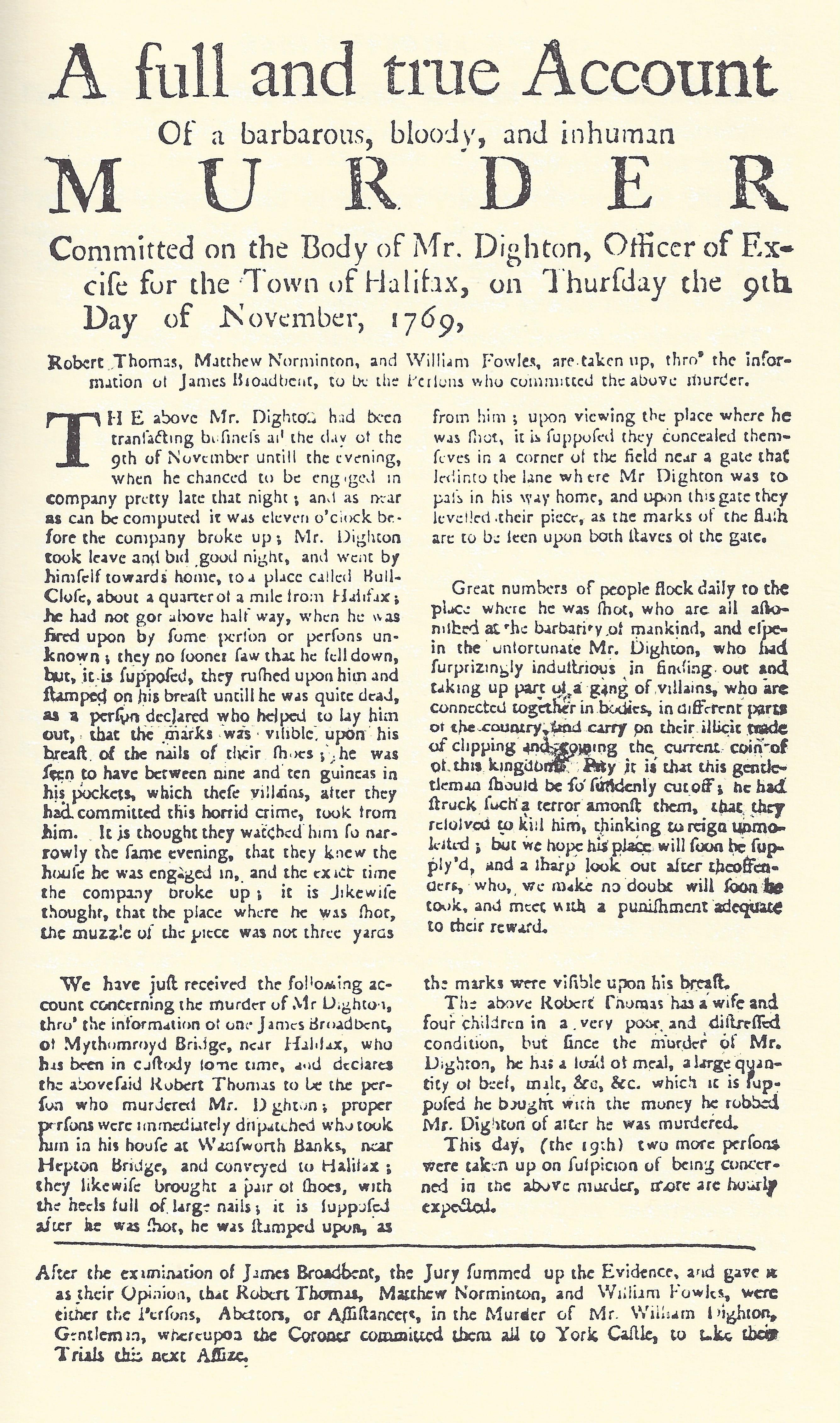 A HALIFAX MURDER OF 250 YEARS AGO {PART ONE} by David C. Glover